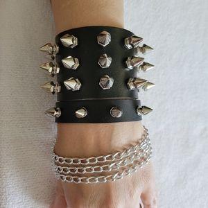Black 2 pc Punk Spike Chain Bracelet set